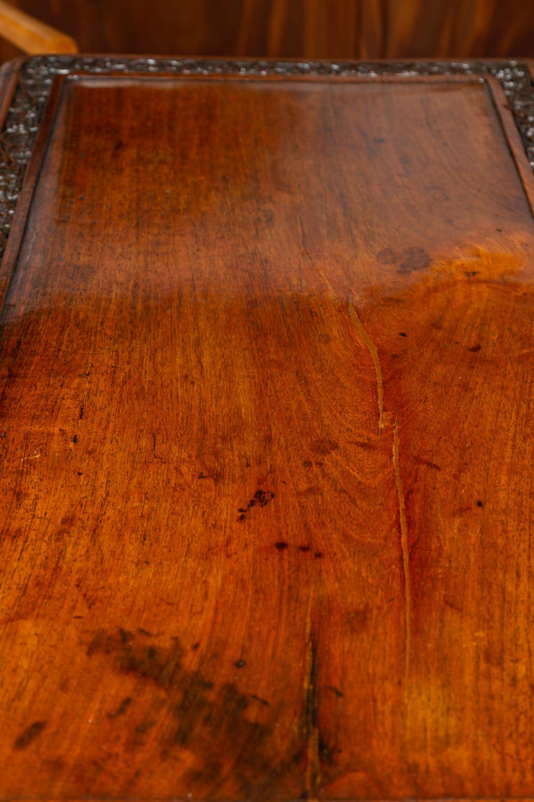 Foliage Carved 1900s Anglo-Indian Table with Two Drawers and Turned Legs For Sale 6