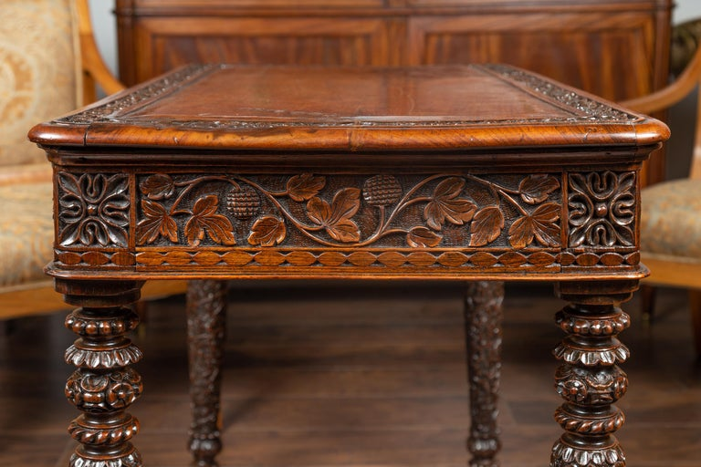 Foliage Carved 1900s Anglo-Indian Table with Two Drawers and Turned Legs For Sale 7