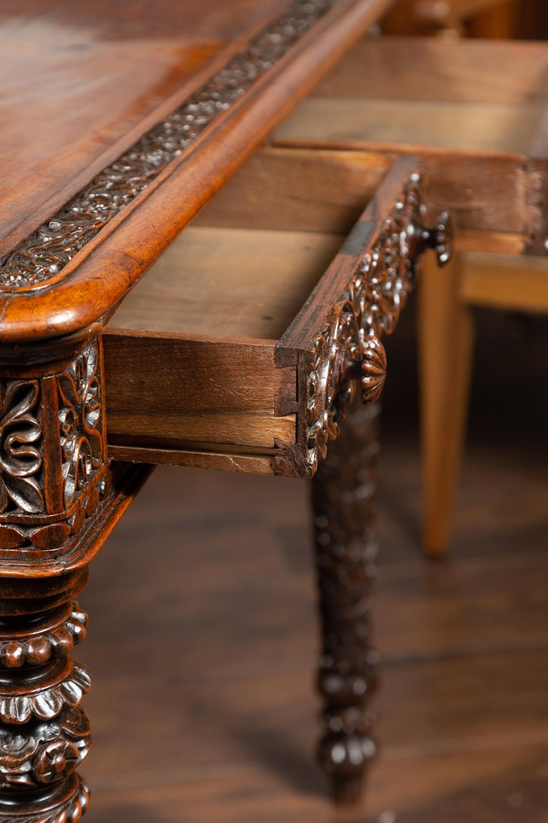 Foliage Carved 1900s Anglo-Indian Table with Two Drawers and Turned Legs For Sale 8