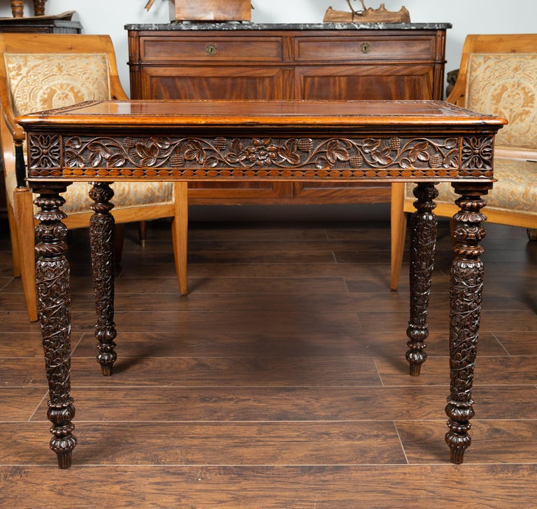 Foliage Carved 1900s Anglo-Indian Table with Two Drawers and Turned Legs For Sale 9