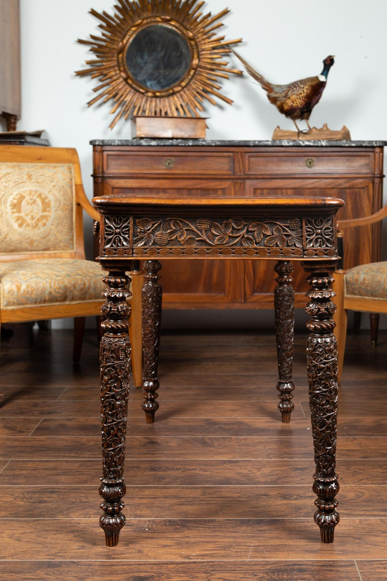 Foliage Carved 1900s Anglo-Indian Table with Two Drawers and Turned Legs For Sale 10