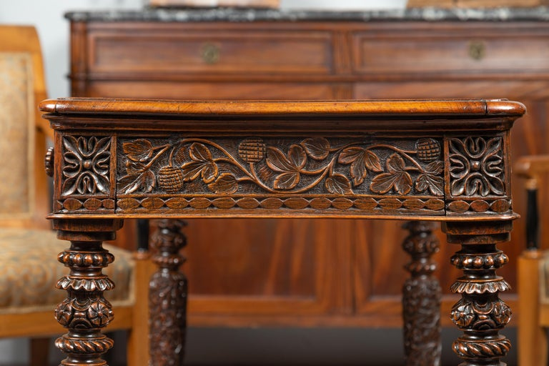 Foliage Carved 1900s Anglo-Indian Table with Two Drawers and Turned Legs For Sale 11