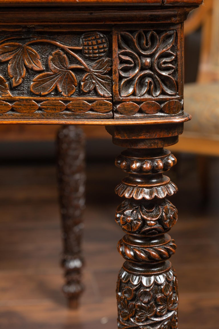 Foliage Carved 1900s Anglo-Indian Table with Two Drawers and Turned Legs For Sale 13