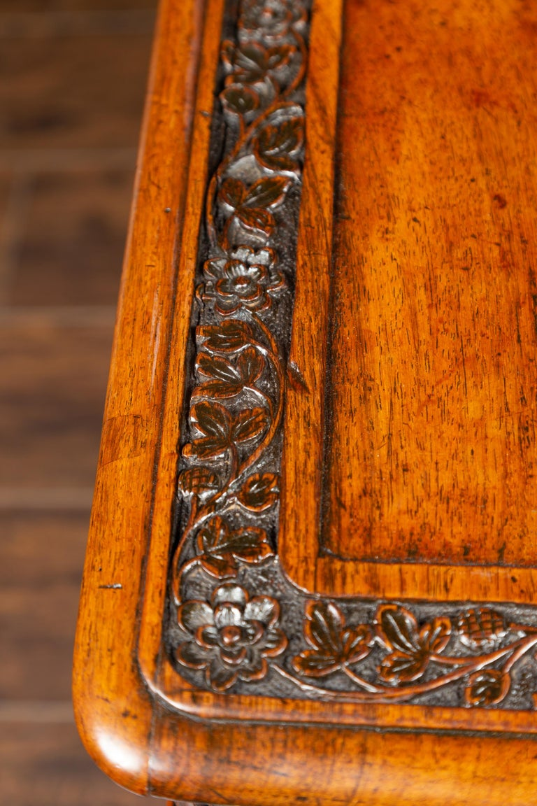 Foliage Carved 1900s Anglo-Indian Table with Two Drawers and Turned Legs For Sale 14