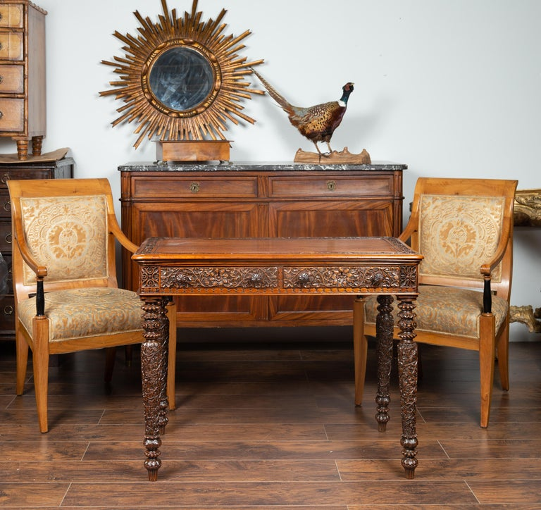 Foliage Carved 1900s Anglo-Indian Table with Two Drawers and Turned Legs In Good Condition For Sale In Atlanta, GA
