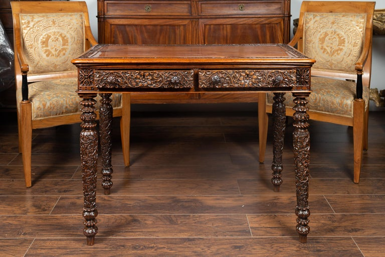 Foliage Carved 1900s Anglo-Indian Table with Two Drawers and Turned Legs For Sale 1