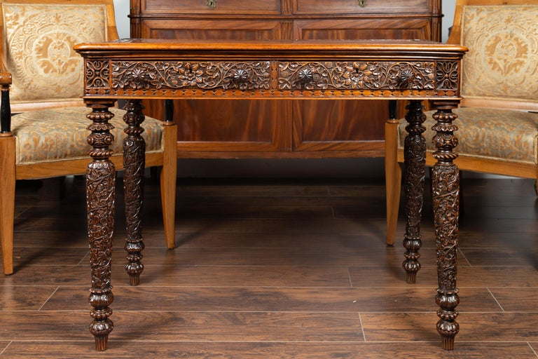 Foliage Carved 1900s Anglo-Indian Table with Two Drawers and Turned Legs For Sale 2