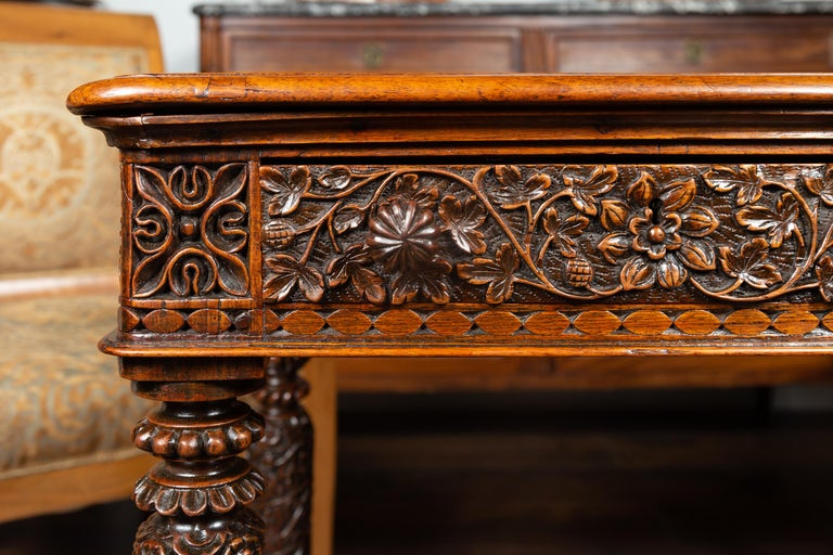 Foliage Carved 1900s Anglo-Indian Table with Two Drawers and Turned Legs For Sale 3