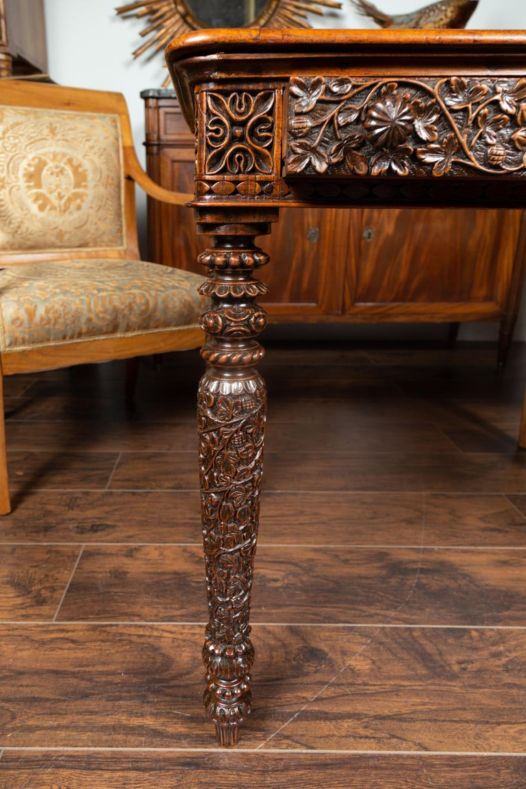 Foliage Carved 1900s Anglo-Indian Table with Two Drawers and Turned Legs For Sale 4