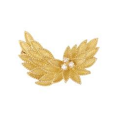 Foliage Diamonds 18 Carats Yellow Gold Brooch