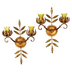 Foliage Gilt Iron Wall Sconces with Amber Glass Shades, 1940s
