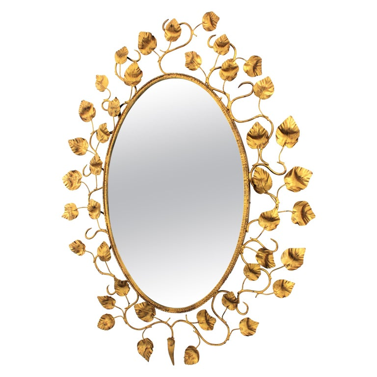 Foliage Oval Mirror in Gilt Metal For Sale