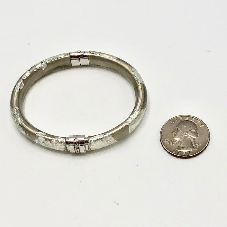 Modern SOHO Foliage Silver Bangle Bracelet For Sale