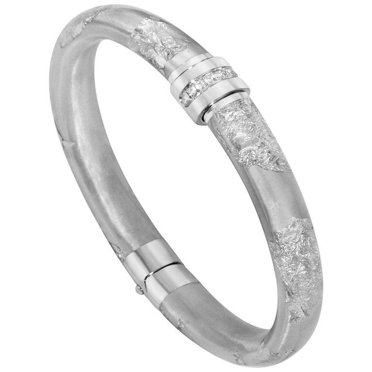 SOHO Foliage Silver Bangle Bracelet For Sale