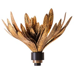 Foliage Wall Sconce Lamp in Brass with Decorative Leaves by Dimoremilano