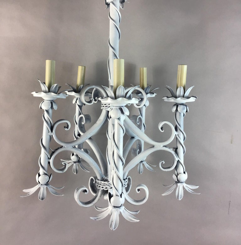 #1-3060 A foliate French handmade five light chandelier. In light French gray finish Newly rewired.