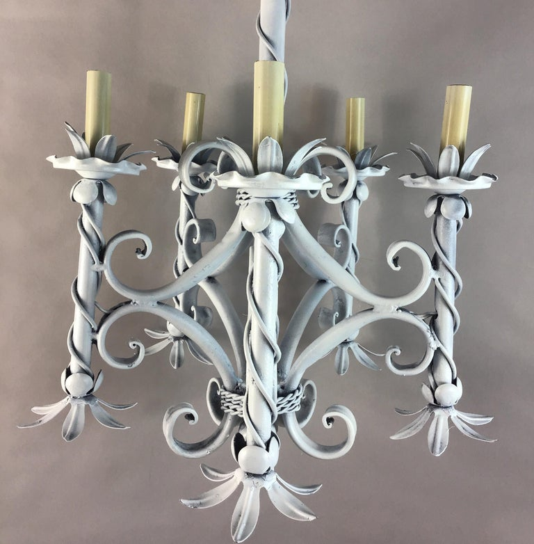 Mid-20th Century Foliate French Chandelier For Sale