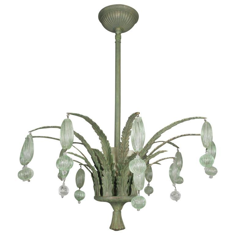 Mid-20th Century Foliate Green Murano Glass Ceiling Fixture For Sale