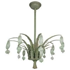 Foliate Green Murano Glass Ceiling Fixture