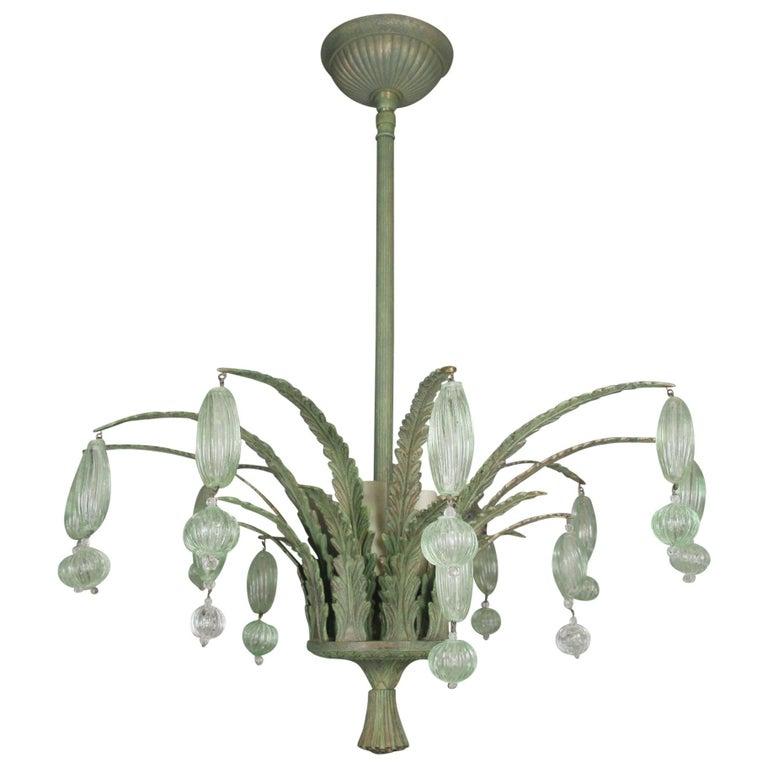 Foliate Green Murano Glass Ceiling Fixture For Sale