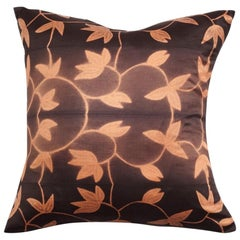 Folio Ebony Gold Floral Pattern Shibori Silk Pillow