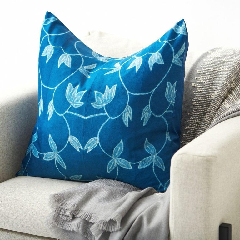 Custom design by Studio Variously,Folio Indigo pillow is handmade by master artisans in India. A sustainable design brand based out of Michigan, Studio Variously exclusively collaborates with artisan communities to restore and Revive ancient