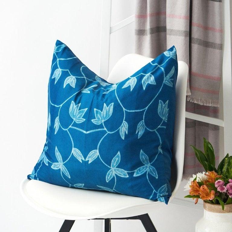 Indian Folio Indigo Floral Pattern Shibori Silk Pillow For Sale
