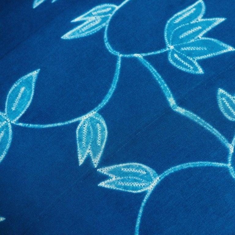 Dyed Folio Indigo Floral Pattern Shibori Silk Pillow For Sale