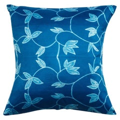 Folio Indigo Floral Pattern Shibori Silk Pillow