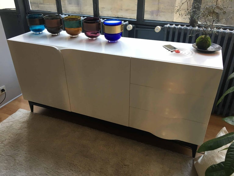 Contemporary Folio Sideboard, Corian and Amarante Sideboard For Sale