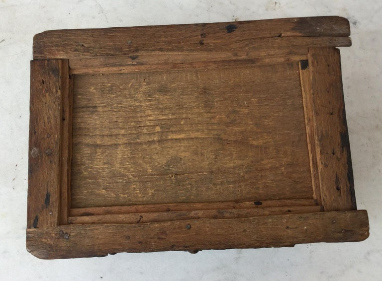Hand-Carved Folk Art 19th Century French Tramp Box For Sale