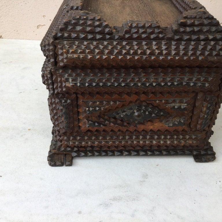 Wood Folk Art 19th Century French Tramp Box For Sale