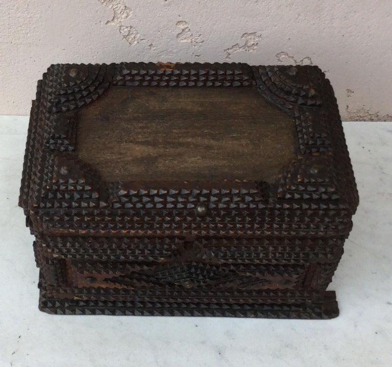 Folk Art 19th Century French Tramp Box For Sale 1