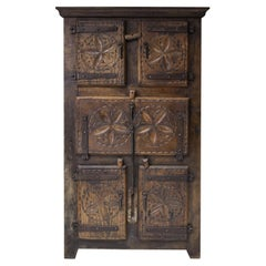 Folk Art 19th Century 'travail d'art populaire' Cabinet from Bretagne, France