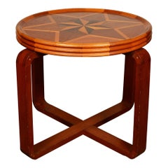 Folk Art Art Deco Parquetry End Table