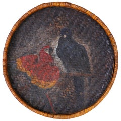 Folk Art Basket or Wall Hanging with Painted Parrots