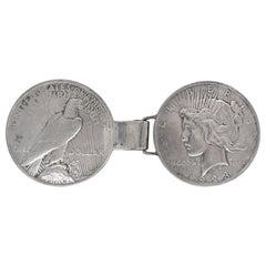 Folk Art Belt Buckle Made of 2 Antique Liberty Peace Silver Dollar Coins