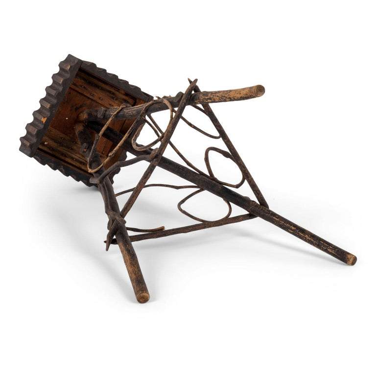 Hand-Crafted Antique Folk Art Twig Stand For Sale