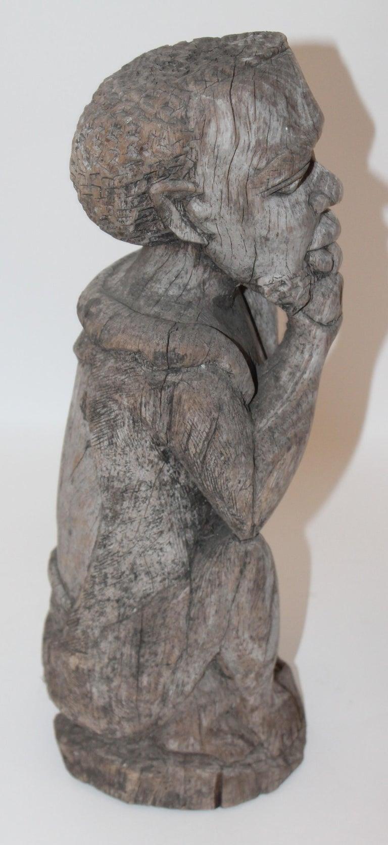 American Folk Art Black Man Carving For Sale