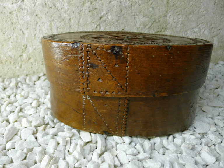 Hand-Carved Folk Art Box to Work, 19th Century For Sale