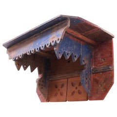 Folk Art Carved and Painted Display Shelf