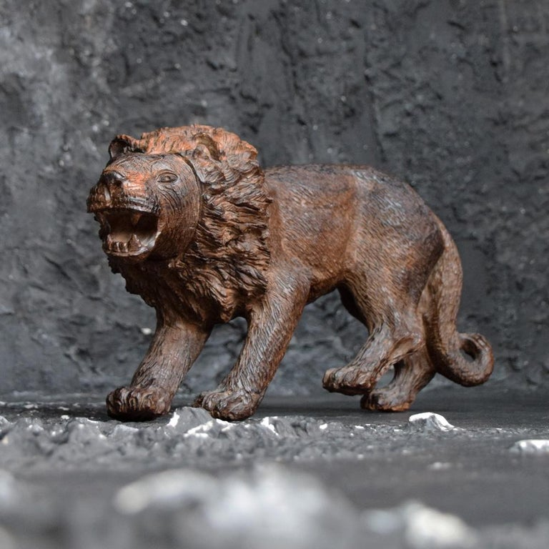 British Folk Art Carved Androcles Lion Figure For Sale