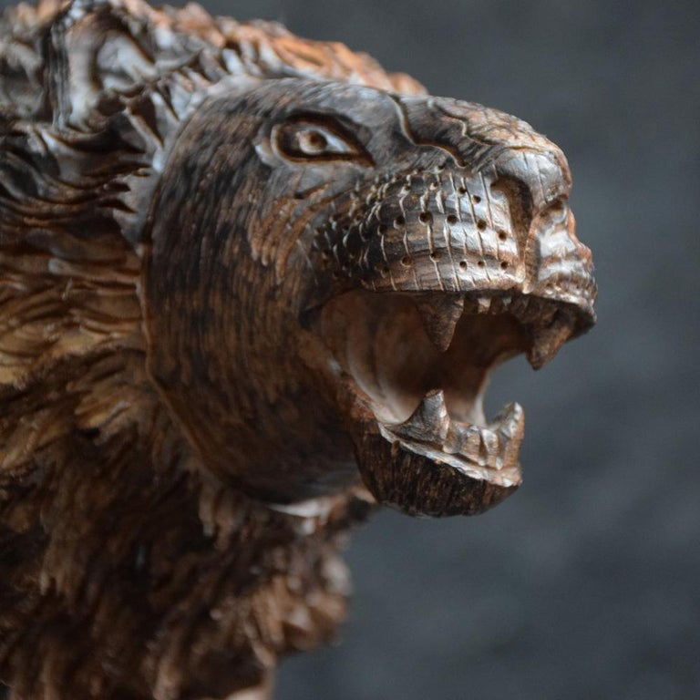 Folk Art Carved Androcles Lion Figure In Good Condition For Sale In London, GB
