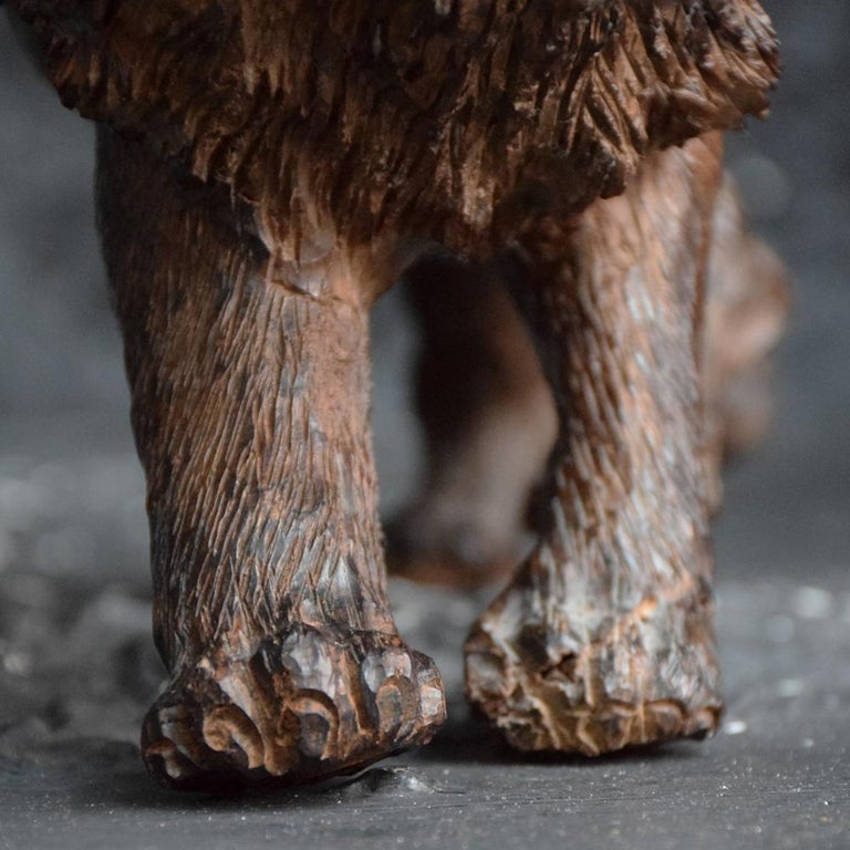 Mid-20th Century Folk Art Carved Androcles Lion Figure For Sale