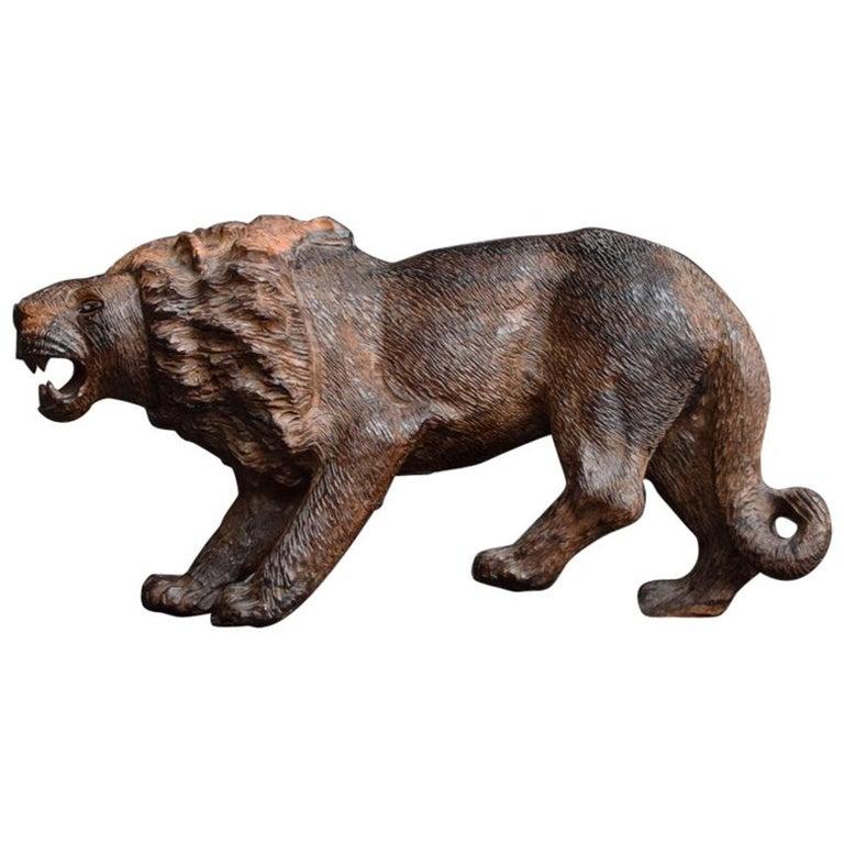Folk Art Carved Androcles Lion Figure For Sale