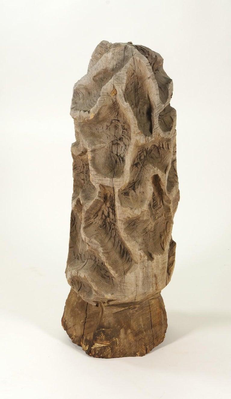 American Folk Art Carved Morel Mushroom Sculpture, Mid-20th Century
