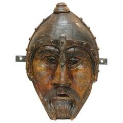 Folk Art Carved Wood Figural Portrait of Thor Signed Jack Duel, Dated 2002