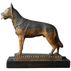 Folk Art Carved Wood German Shepherd Dog Statue