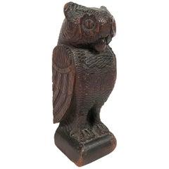 Volkskunst Carved Wood Owl Sculpture