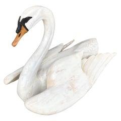 Folk Art Carved Wood Swan Sculpture